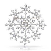 Bling Jewelry Snowflake Brooch Pin Round CZ Prong Setting Pendant Rhodium Plated