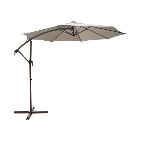 10' Outdoor Patio Off-Set Umbrella Zinc Alloy Crank and Tilt - Beige and Black
