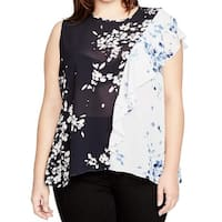 Rachel Rachel Roy Blue Womens Size 3X Plus Sheer Floral Blouse
