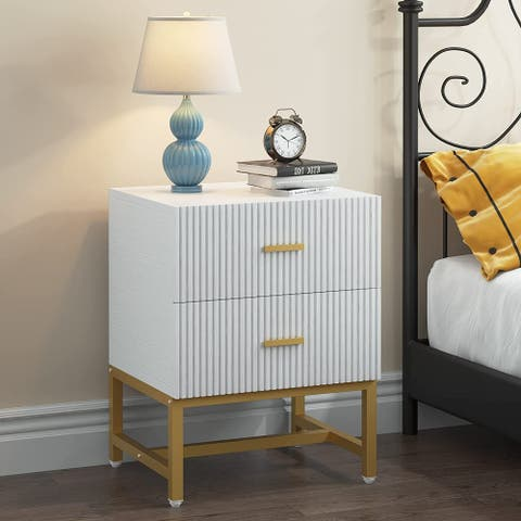 2-Drawer Nightstand Bed Side Table with Storage Cabinet