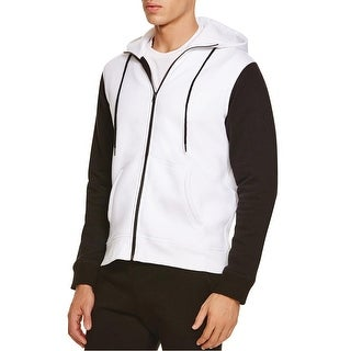 HPE30 Hooded Fleece Full Zip Colorblock Sweatshirt White and Black Large L