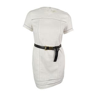 Michael Kors Women's 100% Linen Belted Dress - White|https://ak1.ostkcdn.com/images/products/is/images/direct/70471d96910997fd84fb1f8200c87ad5634dbbec/Michael-Kors-Women%27s-100%25-Linen-Belted-Dress.jpg?impolicy=medium