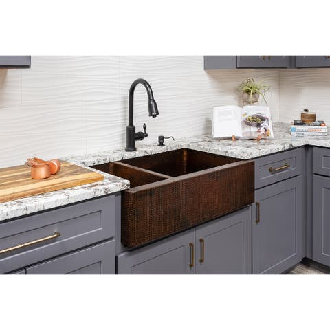 Premier Copper Products KSP2_KA25DB33229 Kitchen Sink, Pull Down Faucet and Accessories Package
