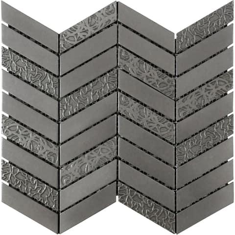 De Luxe Chevron Pewter Metal Mosaic Tile (Pack of 4 Sheet /Box)