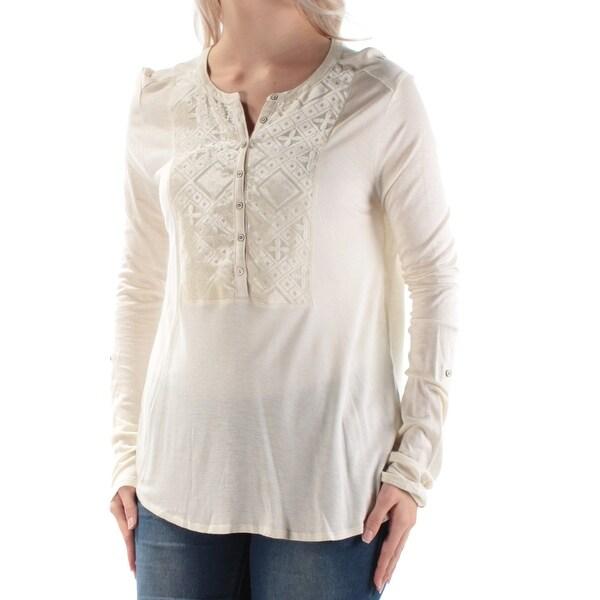 LUCKY BRAND Womens Ivory Velvet Long Sleeve Jewel Neck Top Size: L