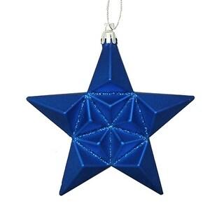 "12ct Matte Lavish Blue Glittered Star Shatterproof Christmas Ornaments 5"""