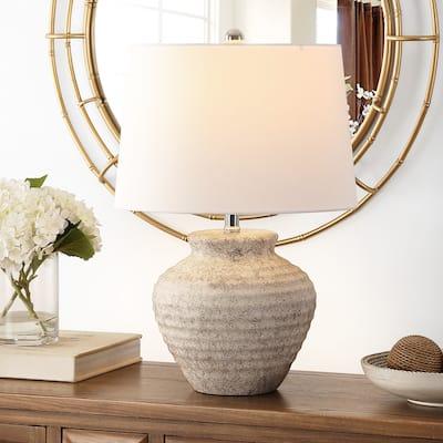 "SAFAVIEH Lighting 22.5-inch Ledger Ceramic Table Lamp - 15"" x 15"" x 22.5"""