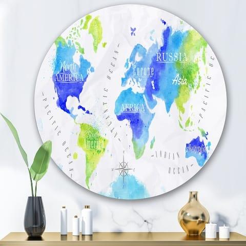 Designart 'World Map In Green and Blue' Modern Metal Circle Wall Art