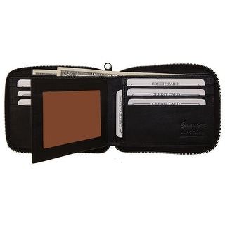 Improving Lifestyles Leather Zip Around Bifold Wallet ID Card Window Zipper Black with Organza Gift Bag SUN1506BK