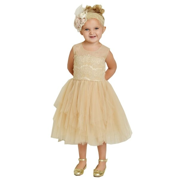 Think Pink Bows Baby Girls Champagne Lace Fairy Tale Flower Girl Dress 1Y