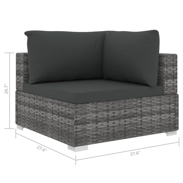 vidaXL Sectional Corner Chair with Cushions Poly Rattan Gray