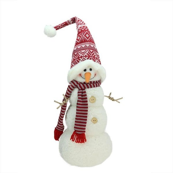 "27"" Snowman with Red and Gray Striped Scarf Christmas Tabletop Decoration - WHITE"