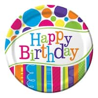 """Club Pack of 96 Bright and Bold """"Happy Birthday"""" Dinner Party Plates 9"""" - White"""