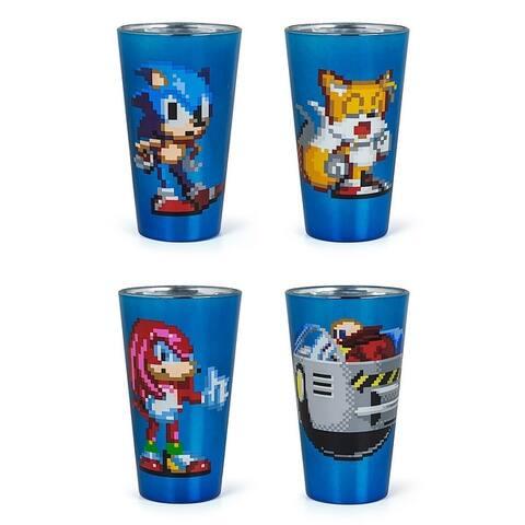 Sonic The Hedgehog Pixelated Pint Glass Set of 4 - Blue