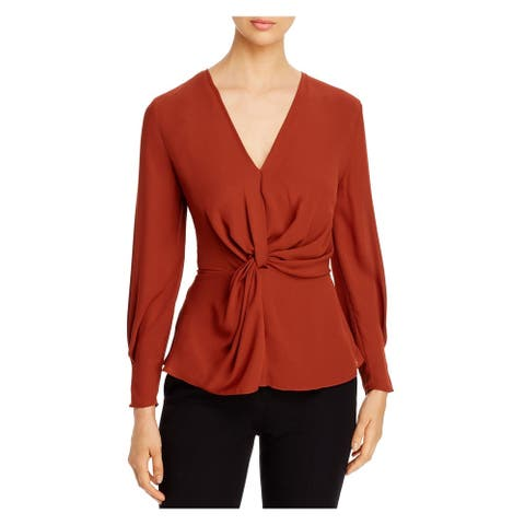 DONNA KARAN Womens Brown Solid Long Sleeve V Neck Blouse Top Size S