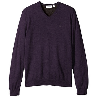 Calvin Klein NEW Purple Mens Size 2XL Merino Wool Solid V-Neck Sweater