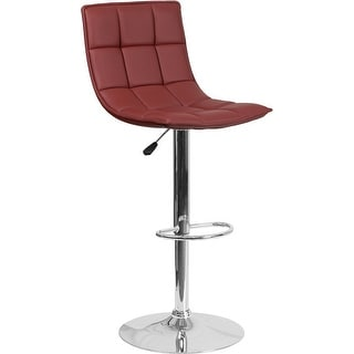 "Estella ""Ally"" Mid-Back Curved Burgundy Quilted Vinyl Adjust Bar/Counter Stool"