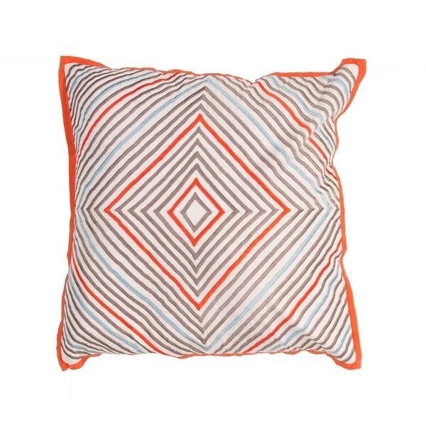 "18"" Orange, Gray and Blue Geometric Diamond Pattern Decorative Throw Pillow"