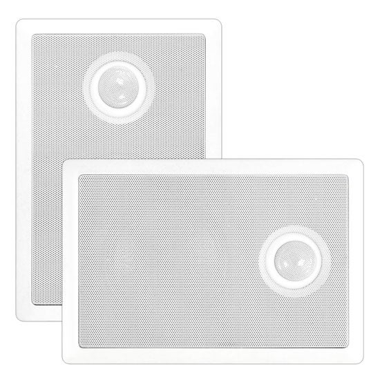 In-Wall / In-Ceiling Dual 6.5'' Speaker System, Directional Tweeter, 2-Way, Flush Mount, White, Sold as Pair