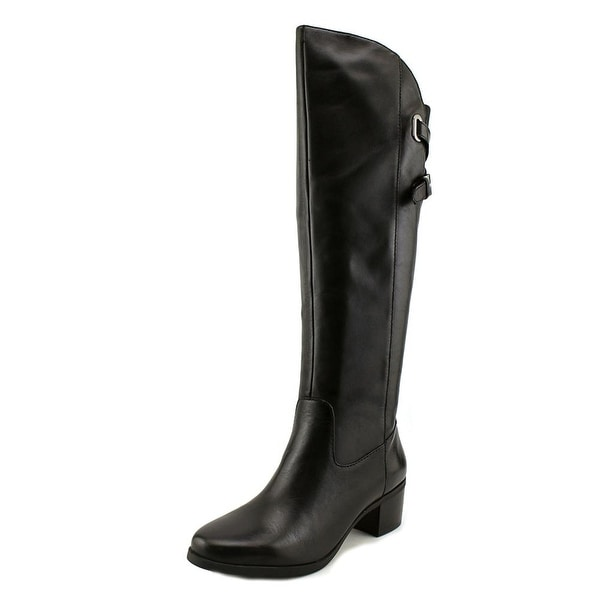 Anne Klein Junip Women Round Toe Leather Black Knee High Boot