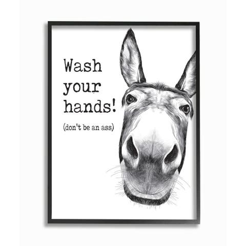 Stupell Industries Wash Your Hands Donkey Quote Bathroom Animal Humor Framed Wall Art