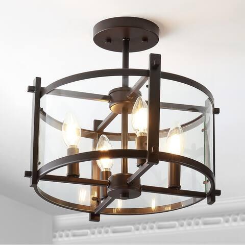 "Hampdon 15"" Iron/Glass Modern Drum LED Flush Mount by JONATHAN Y"