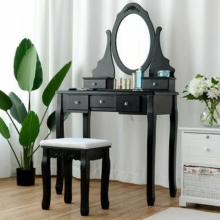 Gymax Vanity Jewelry Wooden Makeup Dressing Table Set W/Stool Mirror & 5 Drawers Black