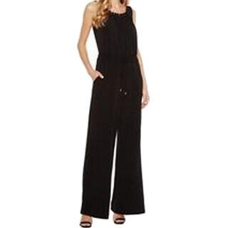 Tahari by ASL NEW Black Velvet Tassel Belted Women's Size 10 Jumpsuit