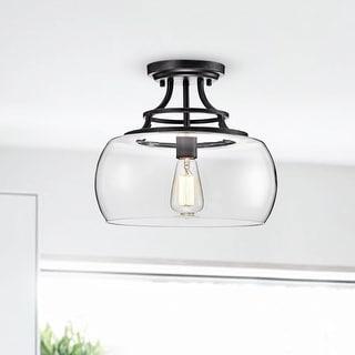 Link to Luna Antique Black Clear Glass Semi Flush Mount Chandelier Similar Items in Semi-Flush Mount Lights