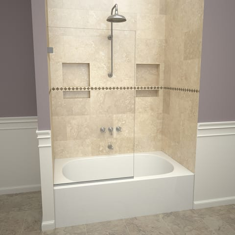 """Tile Redi 20VCNF03060 Redi Screen 60"""" High x 30"""" Wide Tub Frameless Screen with Clear Glass"""