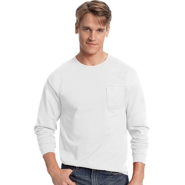 8a539fe9 Shop Hanes Men's TAGLESS® Long-Sleeve T-Shirt with Pocket - Size - 3XL -  Color - White - Free Shipping On Orders Over $45 - Overstock - 13922804