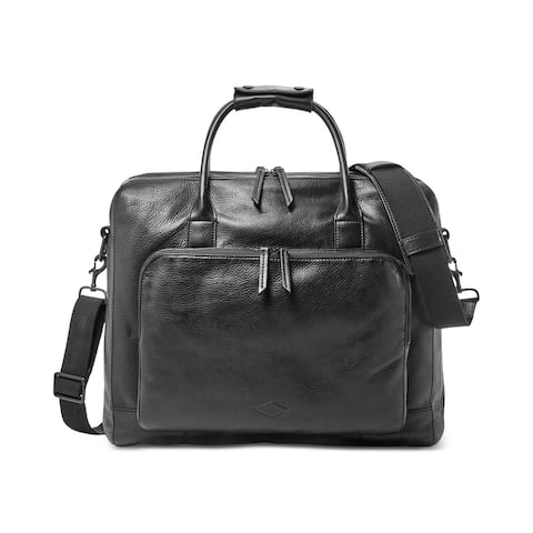 Fossil Mens Carson Leather Briefcase, Black,