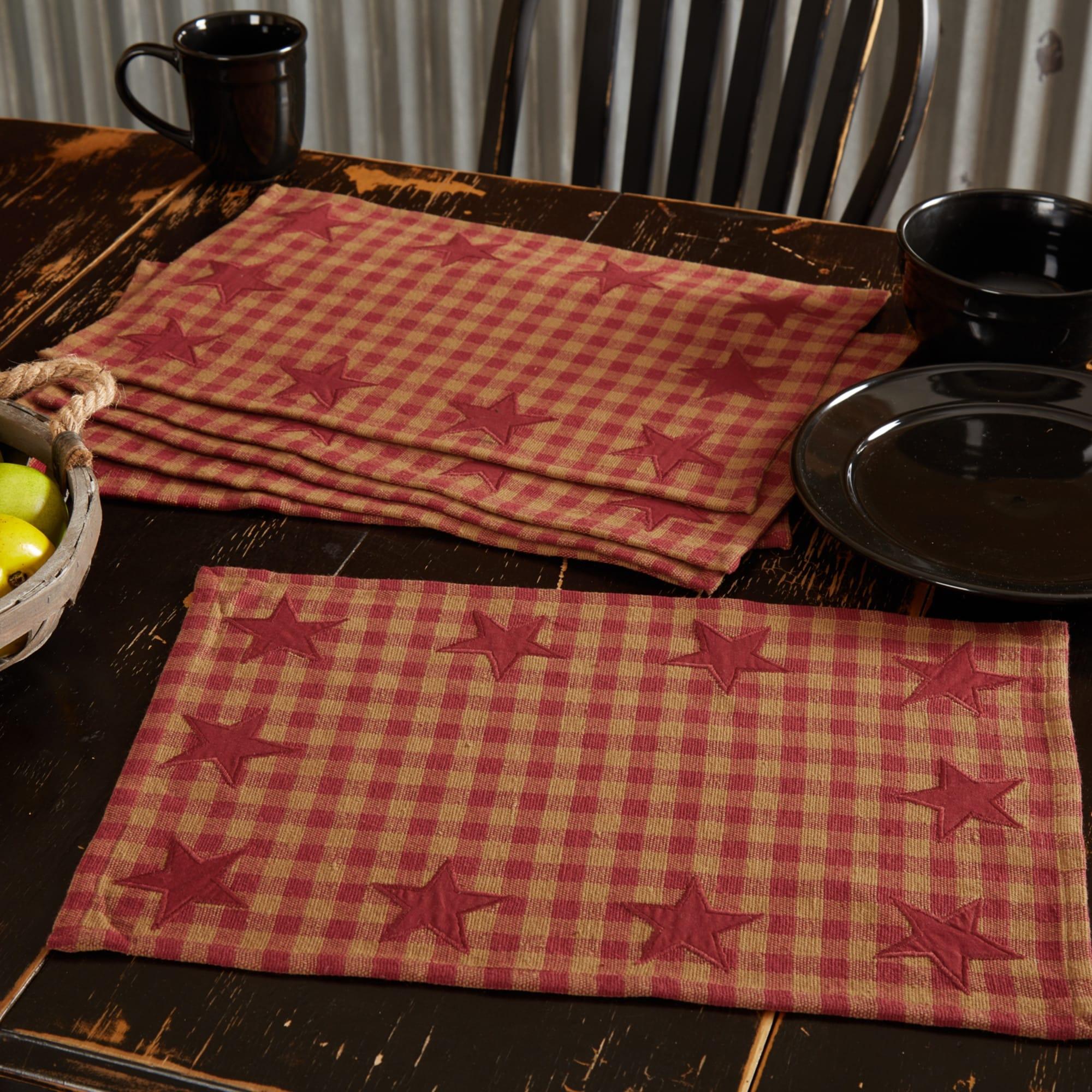 VHC Farmhouse Placemat Set of 6 Thanksgiving Tabletop Kitchen Burlap Vintage Tan