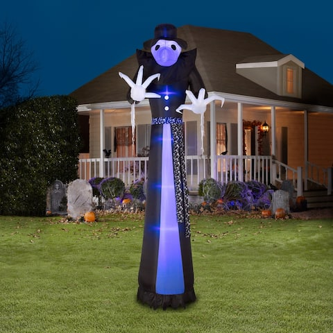 Gemmy Lightshow Airblown ShortCircuit Victorian Reaper Giant (Black Light) , 12 ft Tall, black