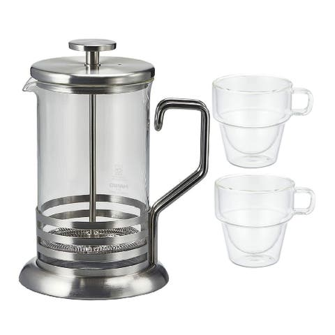 Hario 4-Cup Tea & Coffee Press w/ Double Wall Stack Cups (2-Piece Set)