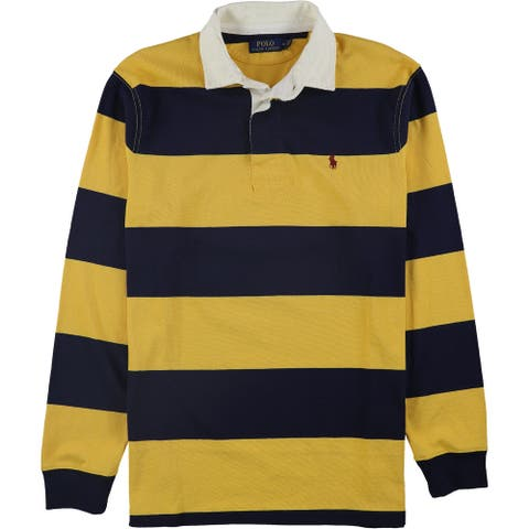Ralph Lauren Mens Iconic Rugby Polo Shirt, Yellow, X-Small