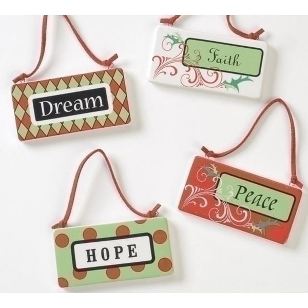 """3.75"""" Holiday Cheer Inspirational """"Peace"""" Porcelain Plaque Christmas Ornament - RED"""