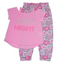 "Girls  Pink ""Night"" Off-Shoulder Top Flower Print 2 Pc Pajama Set"