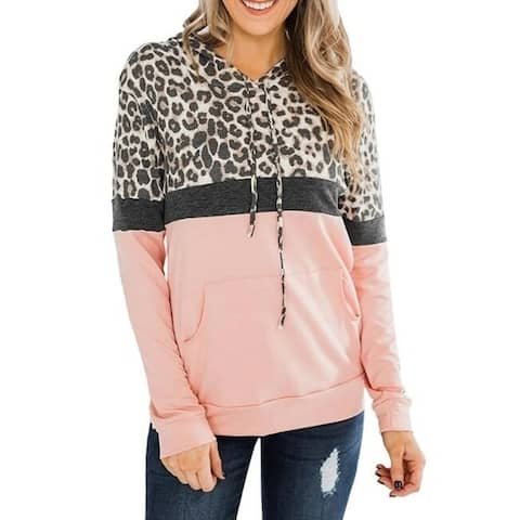 Leopard Print Hooded Pullover Sweater