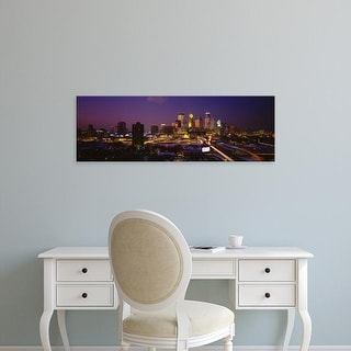 Easy Art Prints Panoramic Images's 'Skyscrapers lit up at dusk, Minneapolis, Minnesota, USA' Premium Canvas Art