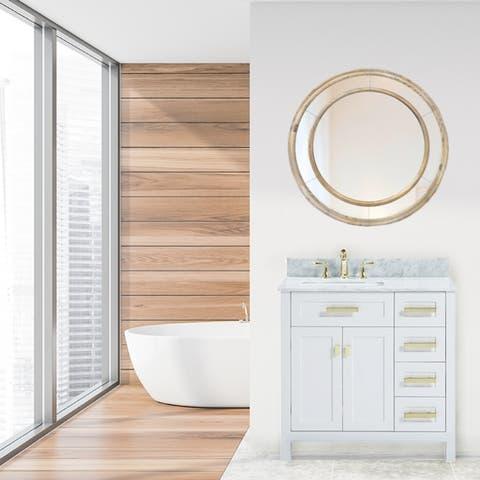 36 Inch Freestanding White Bathroom Vanity with White Carrara Marble