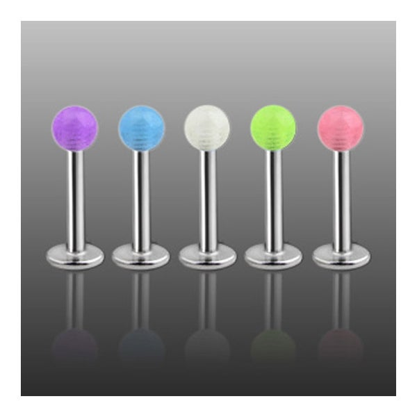 """Steel Labret, Monroe, Tragus or Cartilage with Glow in the Dark Ball - 14GA 3/8"""" Long (Sold Ind.)"""