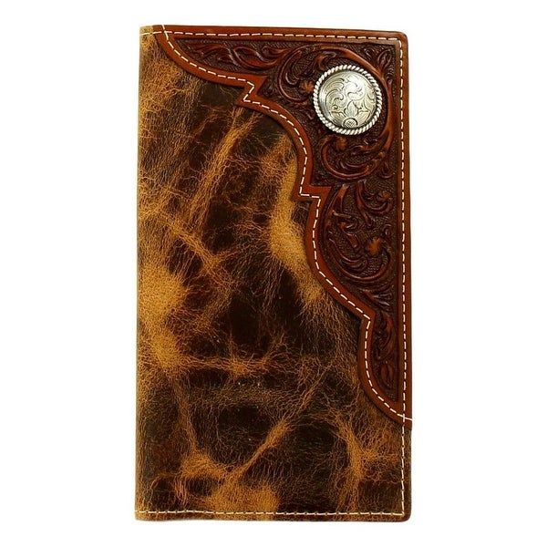 Ariat Western Wallet Mens Distressed Emboss Overlay Rodeo Tan