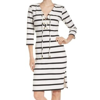 Eliza J NEW Ivory Black Womens Size 6 Striped Lace-Up Sheath Dress