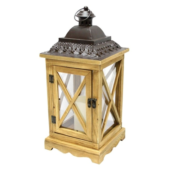 """17.5"""" Rustic Wooden Lantern with Brown Metal Top and LED Flameless Pillar Candle with Timer"""