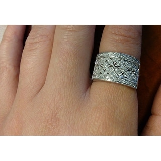 Sterling Silver 1/4ct TDW Diamond Floral Milgrain Ring