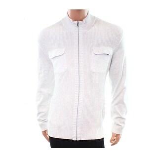 Alfani NEW White Ivory Men's Size XL Dual-Pocket Full Zip Sweater