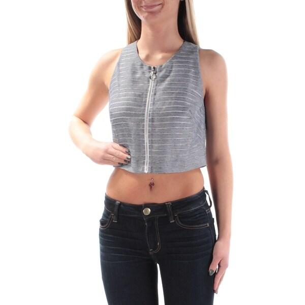 RACHEL ROY Womens Blue Zippered Striped Sleeveless Jewel Neck Crop Top Size: 2