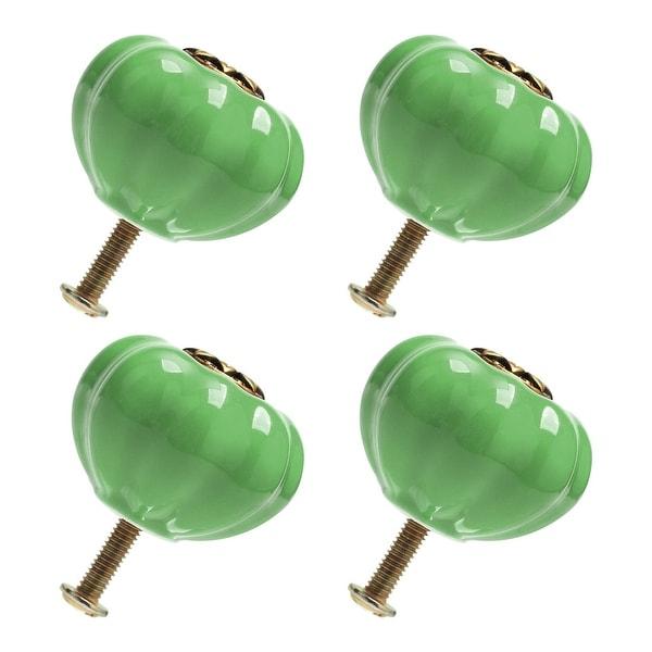 4pcs Ceramic Knobs Drawer Pumpkin Shaped Pull Handle Furniture Door Cabinet Cupboard Wardrobe Dresser Decoration Green