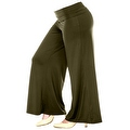 Plus Size Women's Brown Palazzo Pants Lose Fit Wide Leg Folding Waist Sexy Comfy - Thumbnail 4